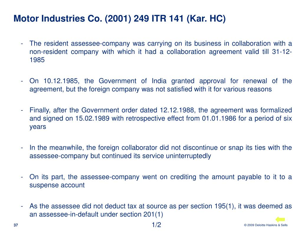 Motor Industries Co. (2001) 249 ITR 141 (Kar. HC)
