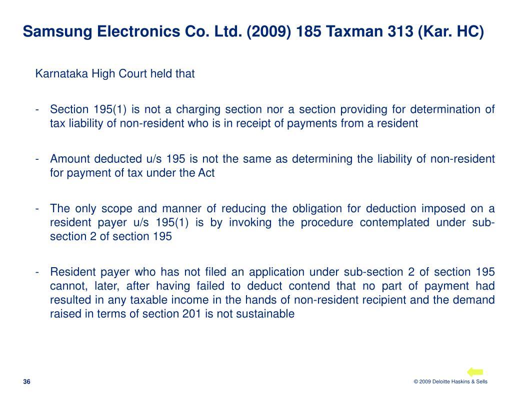 Samsung Electronics Co. Ltd. (2009) 185 Taxman 313 (Kar. HC)