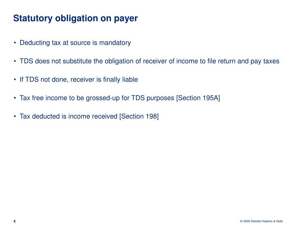 Statutory obligation on payer