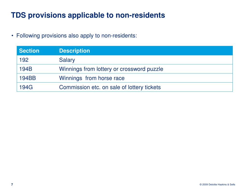 TDS provisions applicable to non-residents