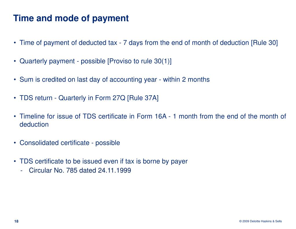 Time and mode of payment