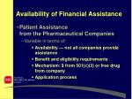 availability of financial assistance10