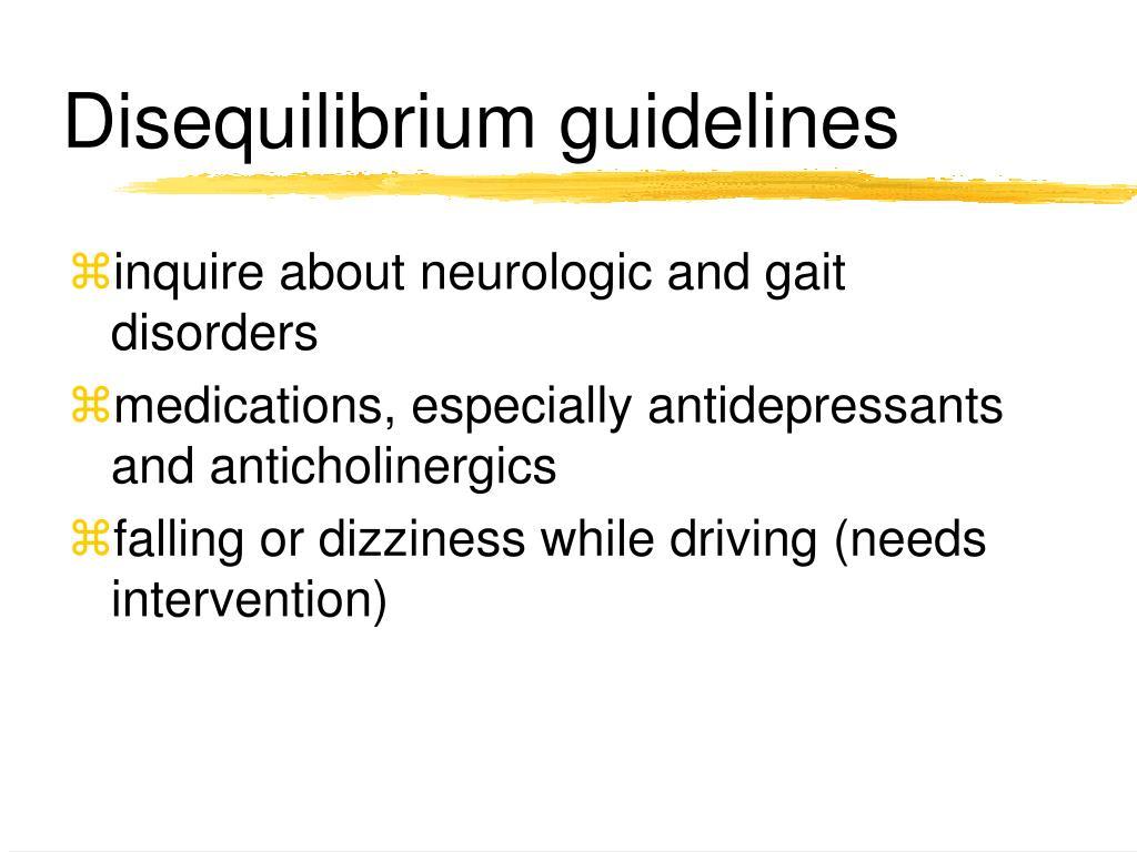 Disequilibrium guidelines