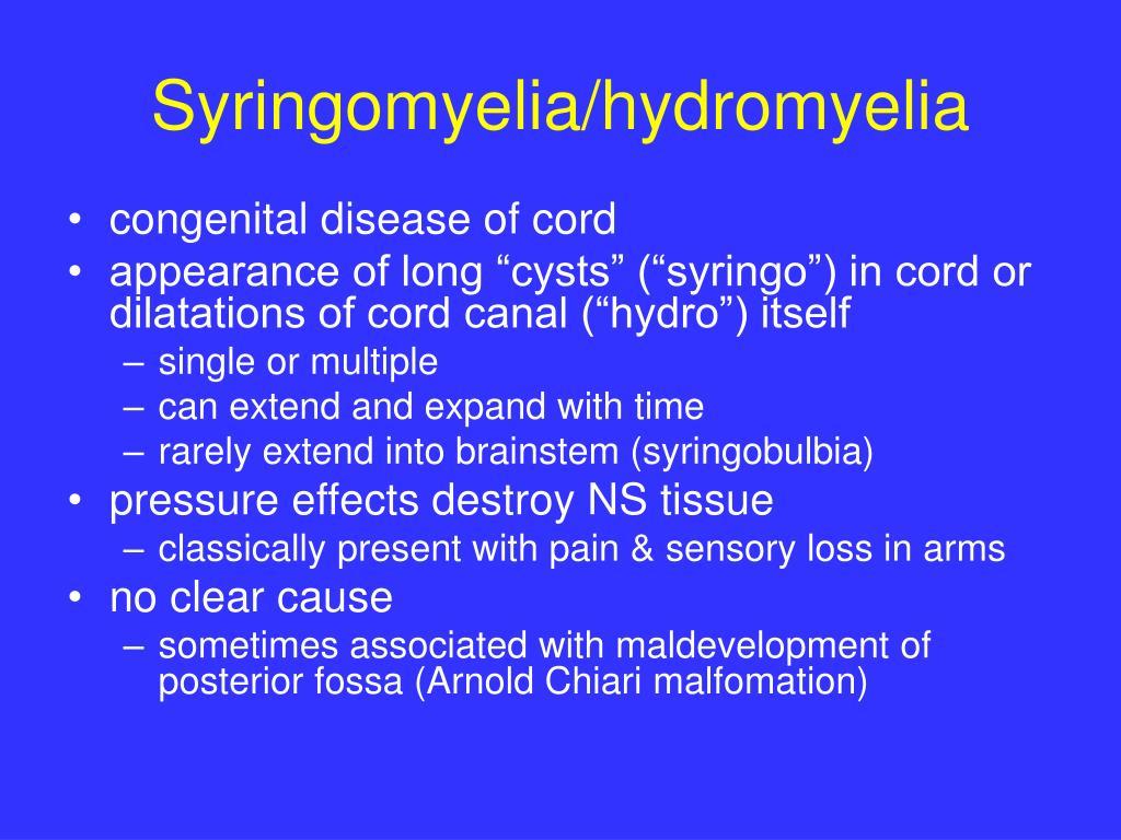 Syringomyelia/hydromyelia