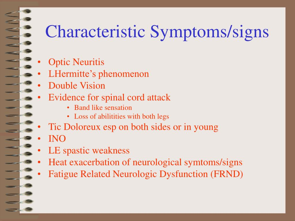 Characteristic Symptoms/signs