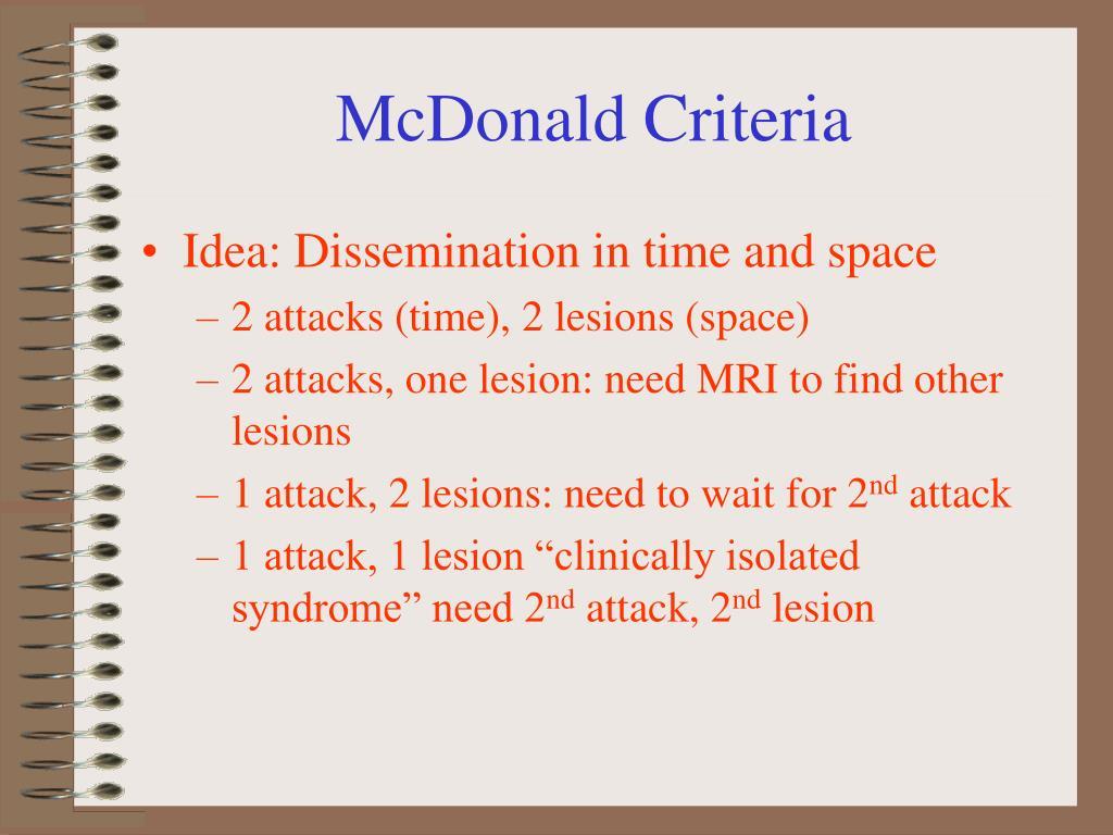 McDonald Criteria