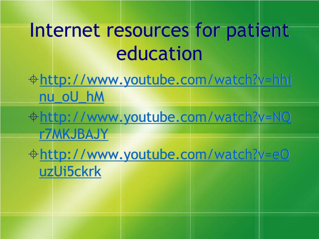 Internet resources for patient education