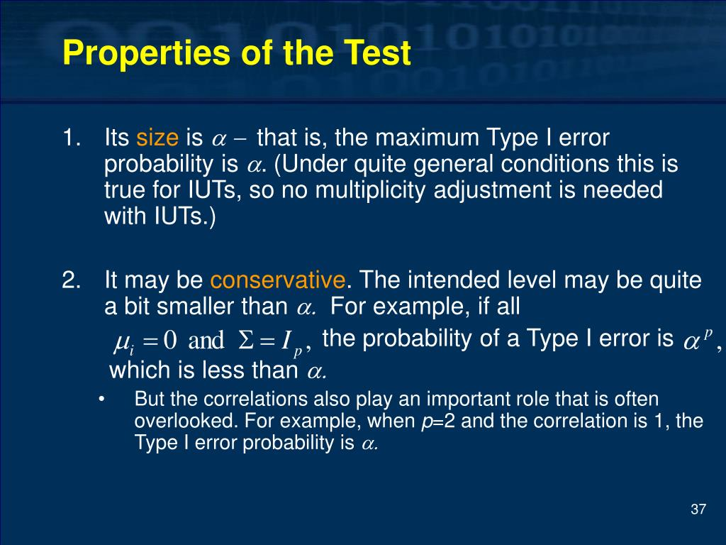 Properties of the Test
