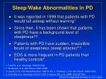 sleep wake abnormalities in pd