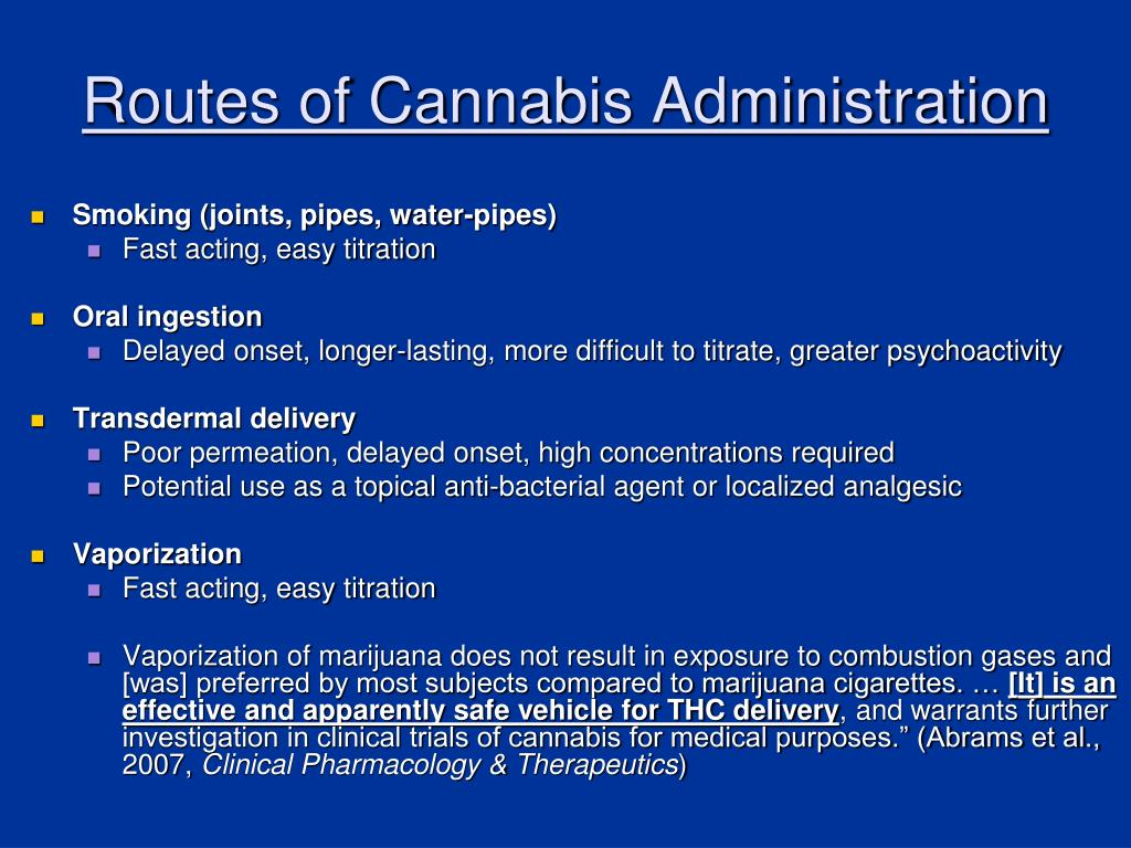 Routes of Cannabis Administration