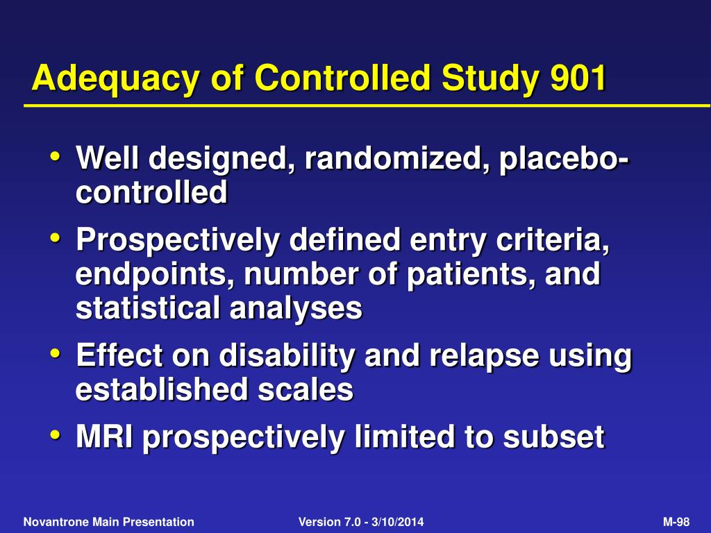 Adequacy of Controlled Study 901