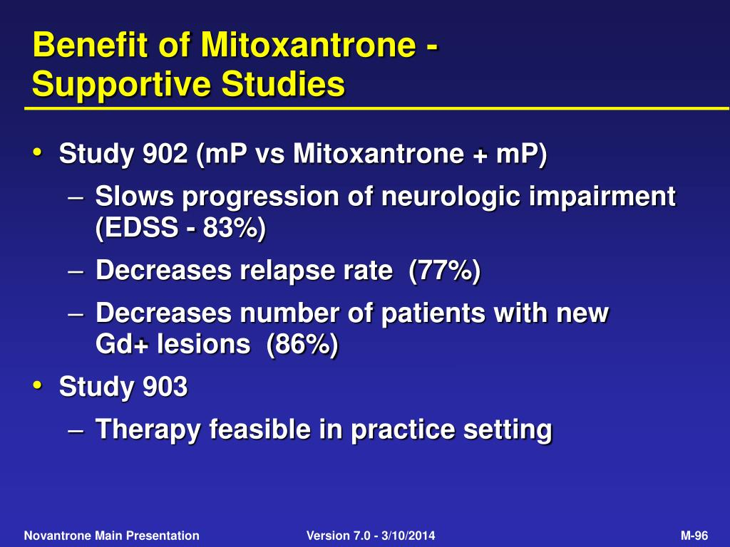 Benefit of Mitoxantrone -