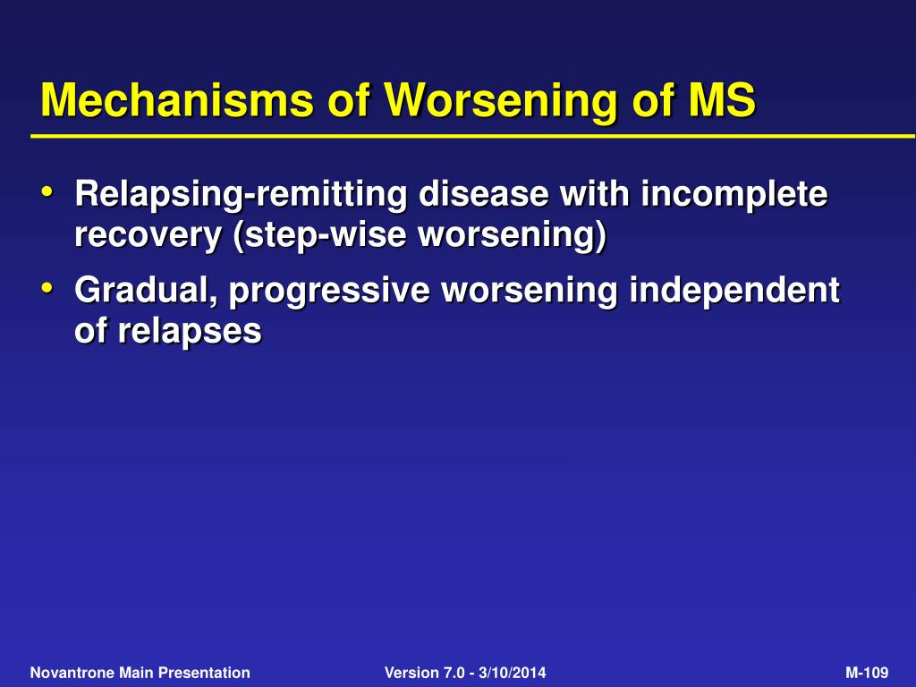 Mechanisms of Worsening of MS