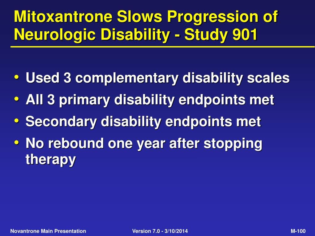 Mitoxantrone Slows Progression of Neurologic Disability - Study 901