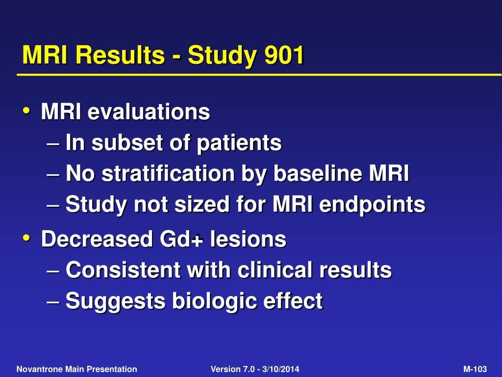 MRI Results - Study 901