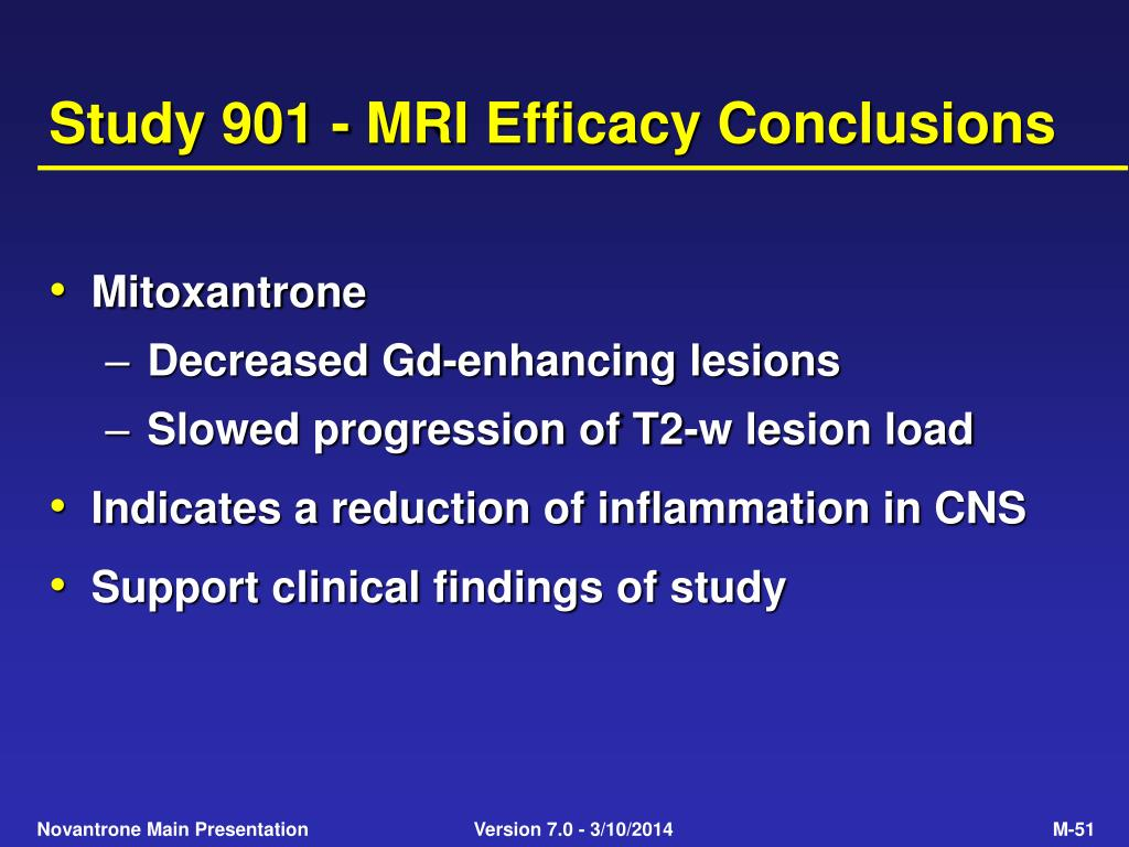 Study 901 - MRI Efficacy Conclusions