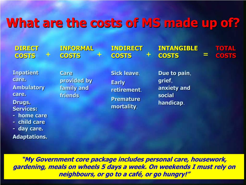 What are the costs of MS made up of?