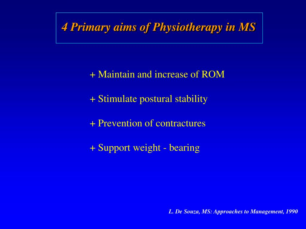 4 Primary aims of Physiotherapy in MS
