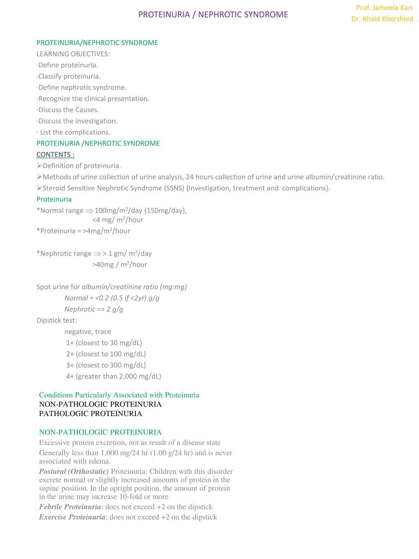 PROTEINURIA / NEPHROTIC SYNDROME