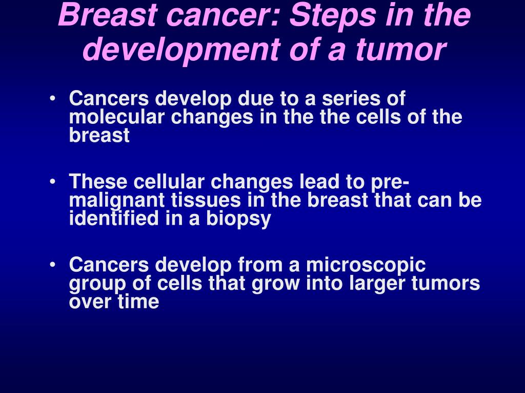 Breast cancer: Steps in the development of a tumor