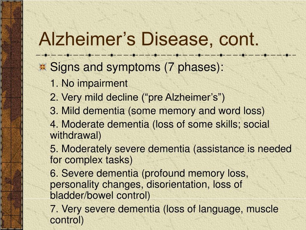 Alzheimer's Disease, cont.