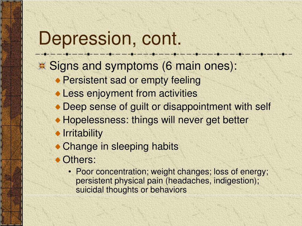 Depression, cont.