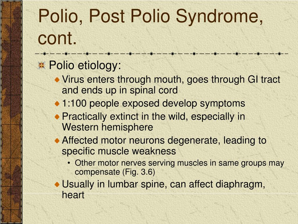 Polio, Post Polio Syndrome, cont.