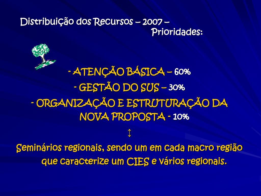 Distribuição dos Recursos – 2007 –
