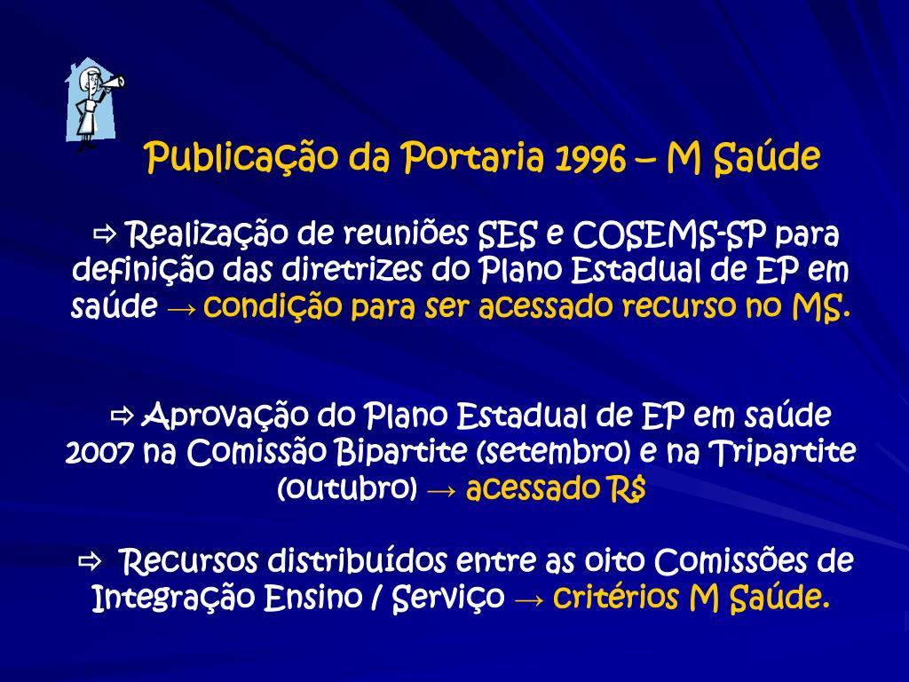 Publicação da Portaria 1996 – M Saúde