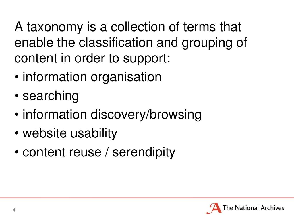 A taxonomy is a collection of terms that enable the classification and grouping of content in order to support: