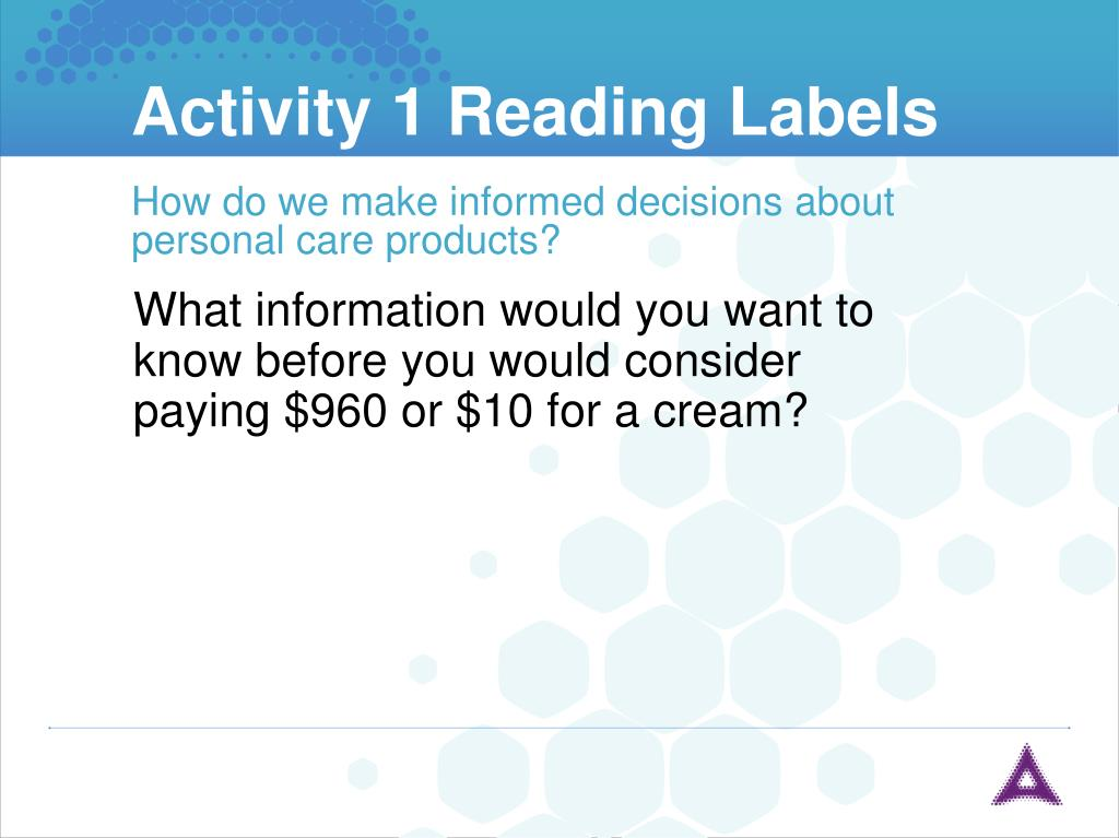 Activity 1 Reading Labels