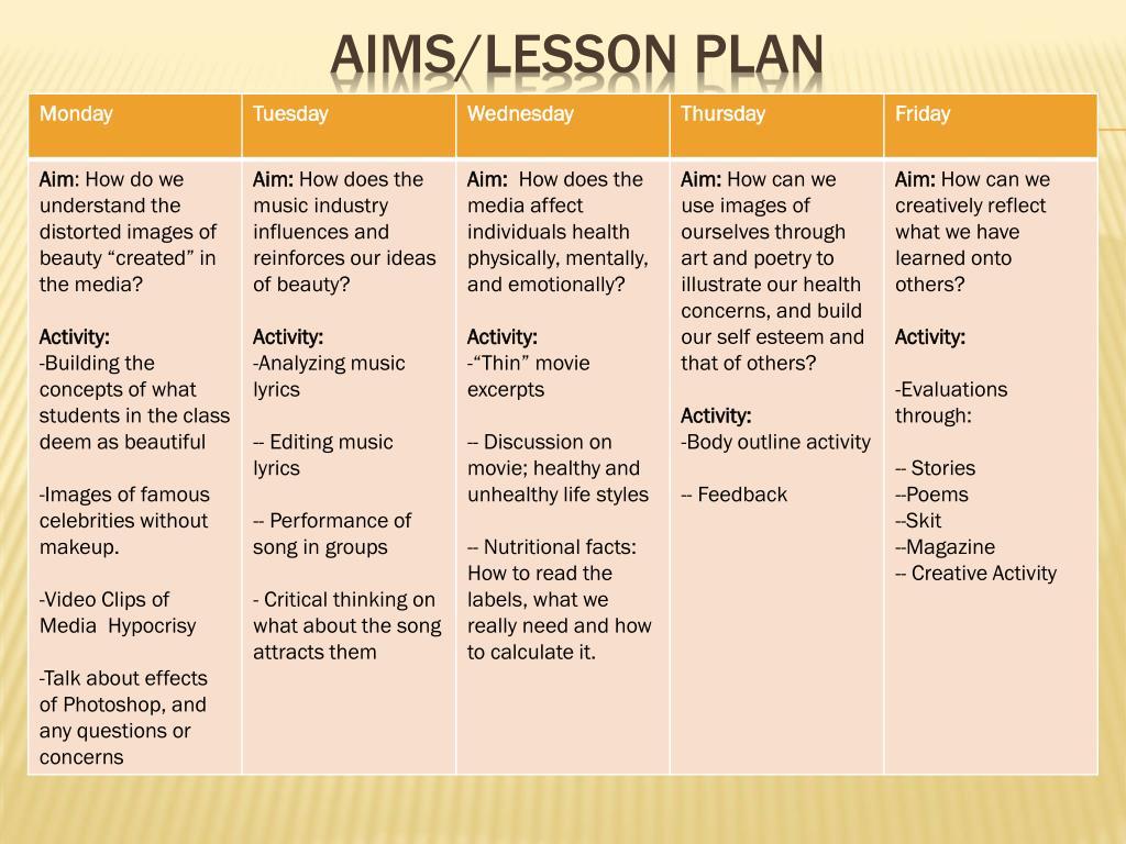 aims/lesson plan