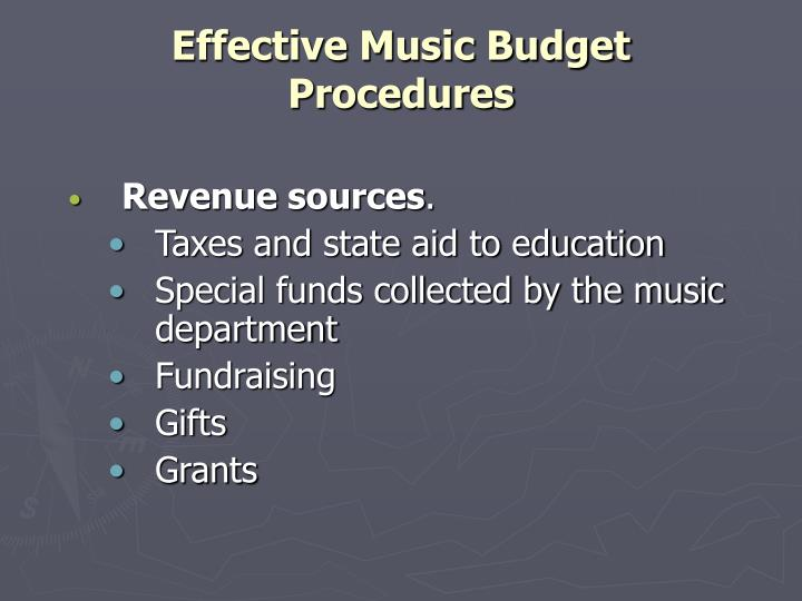 Effective music budget procedures2