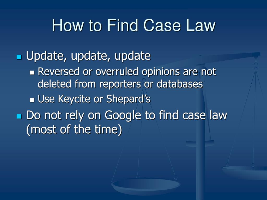 How to Find Case Law
