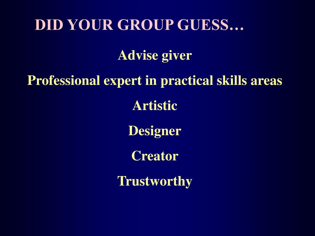DID YOUR GROUP GUESS…