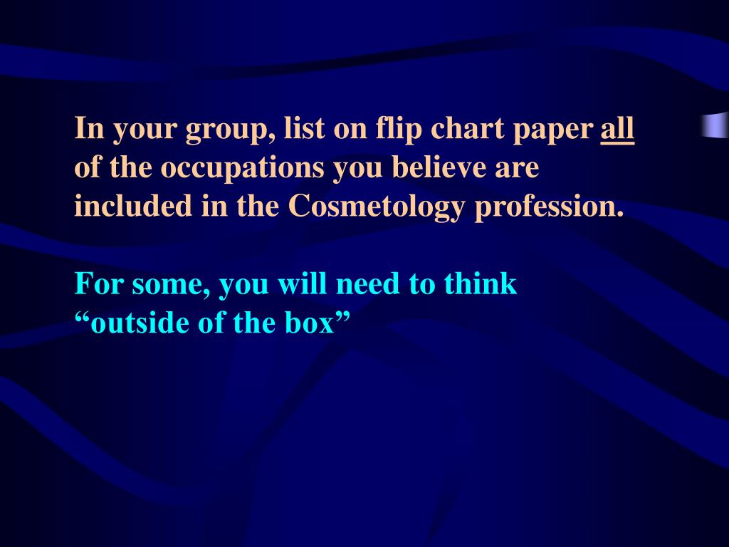 In your group, list on flip chart paper