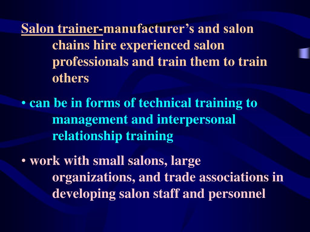 Salon trainer-