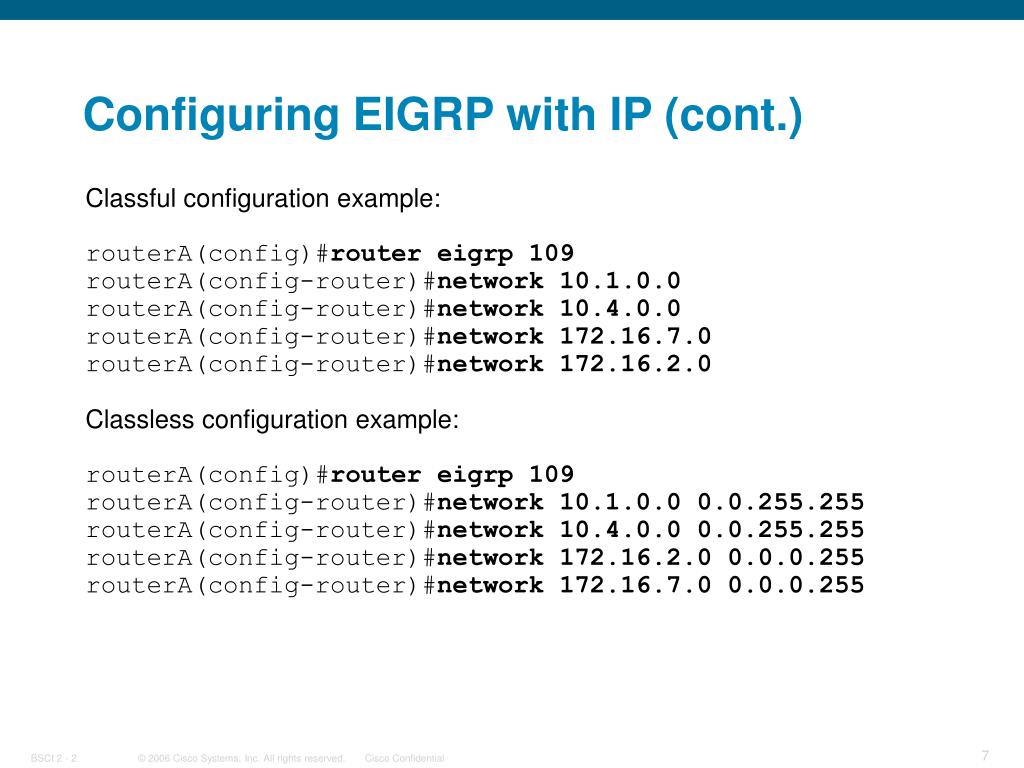 Configuring EIGRP with IP (cont.)