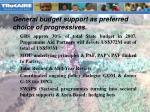 general budget support as preferred choice of progressives