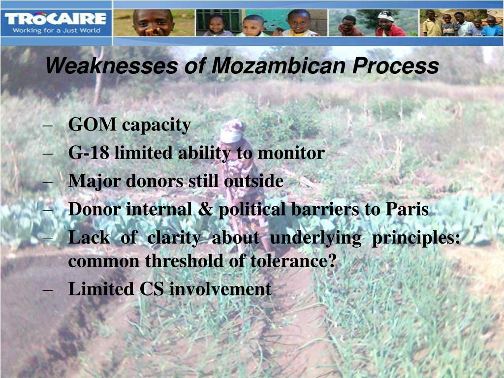 Weaknesses of Mozambican Process