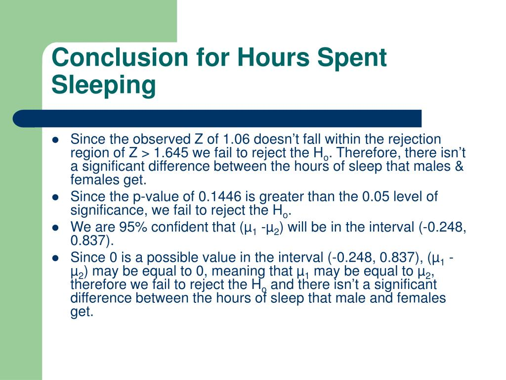 Conclusion for Hours Spent Sleeping
