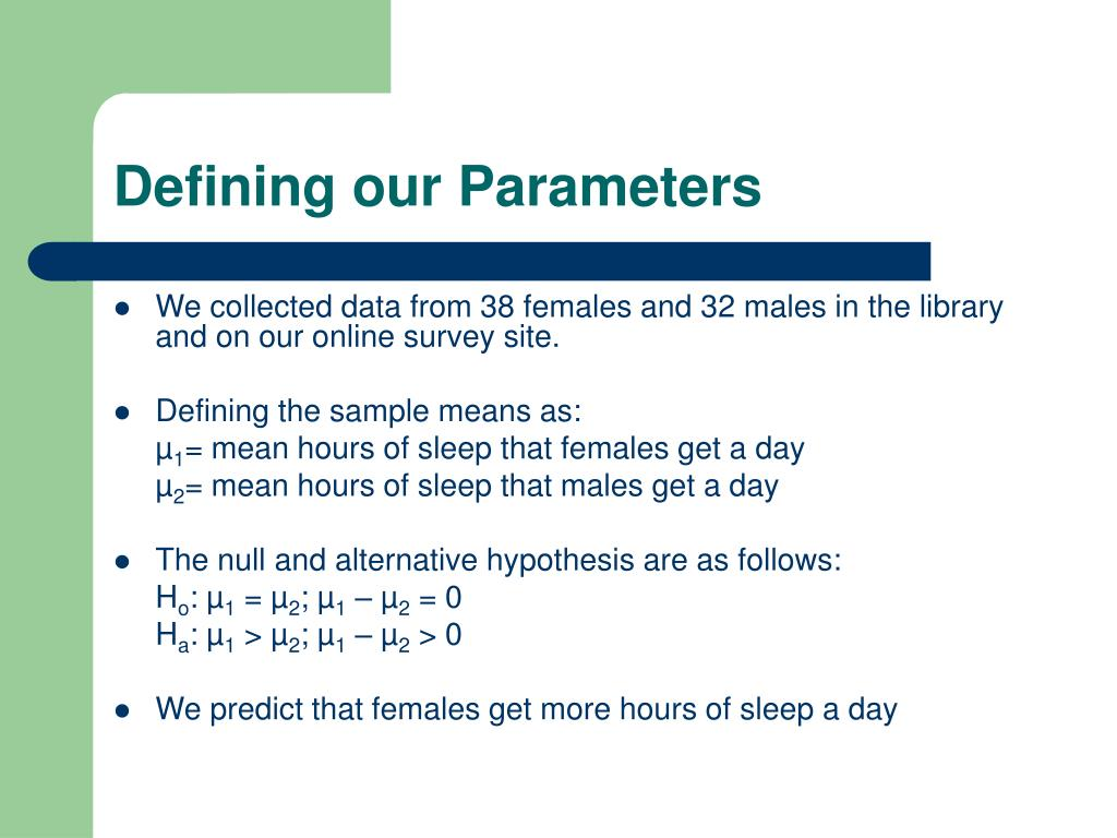 Defining our Parameters