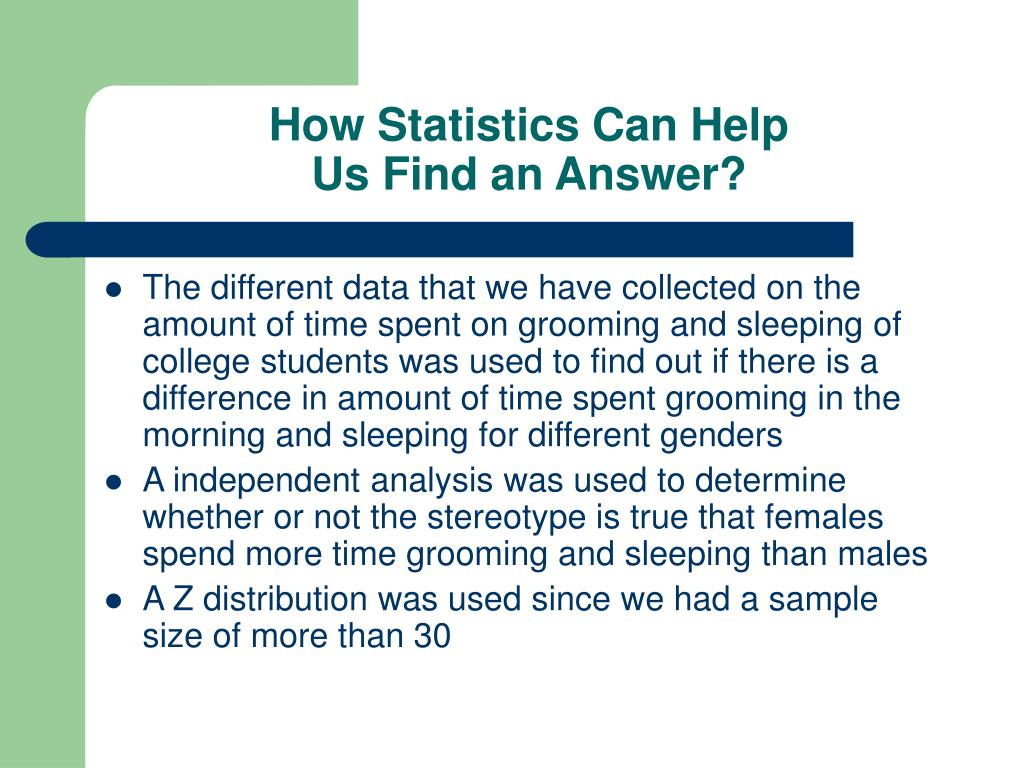 How Statistics Can Help
