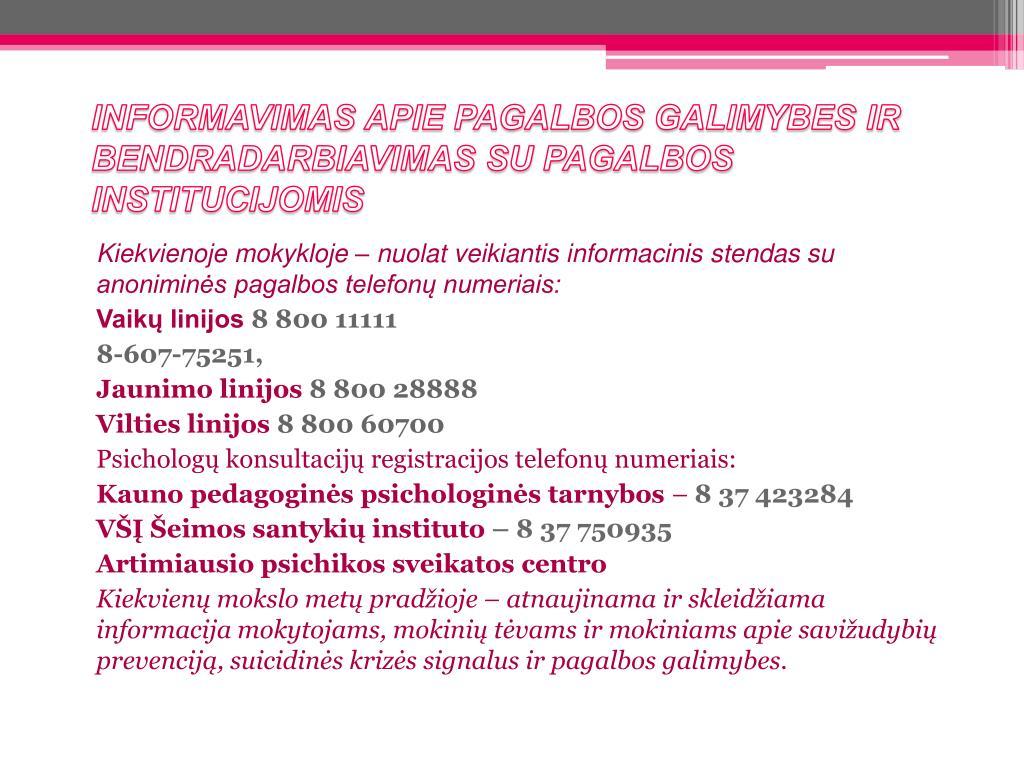 INFORMAVIMAS APIE PAGALBOS GALIMYBES IR BENDRADARBIAVIMAS SU PAGALBOS INSTITUCIJOMIS