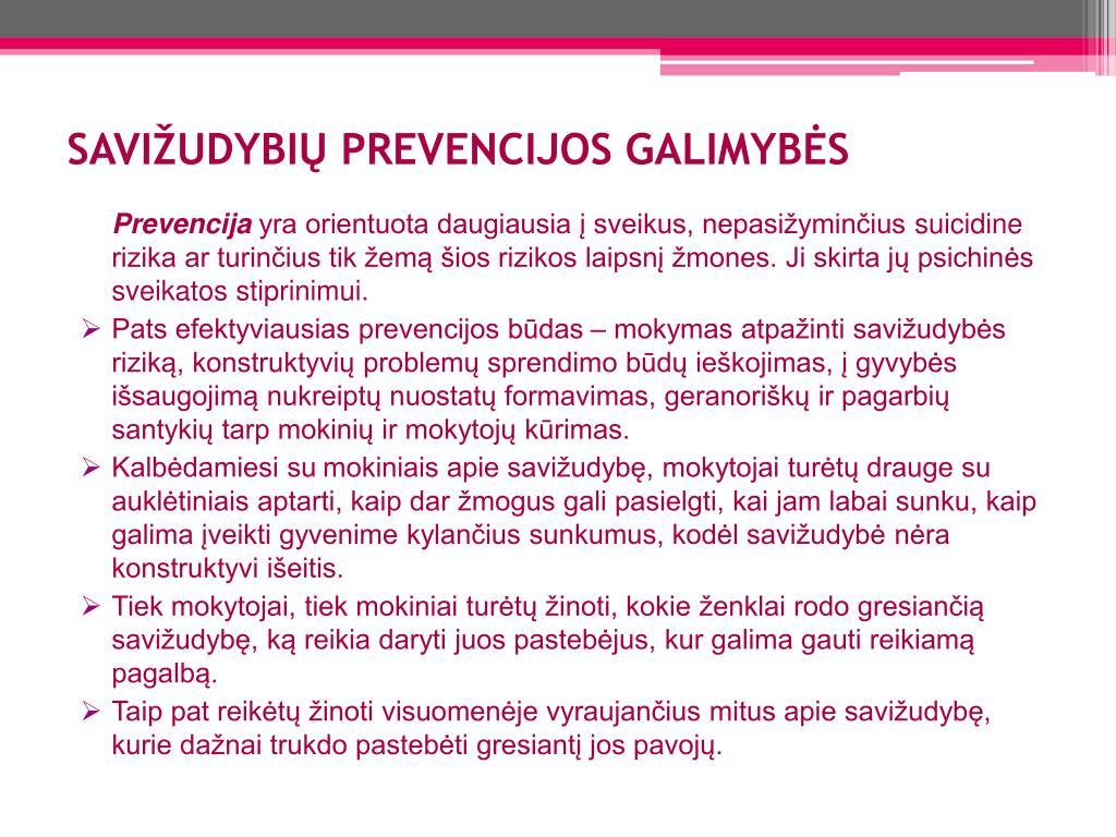 SAVIŽUDYBIŲ PREVENCIJOS GALIMYBĖS