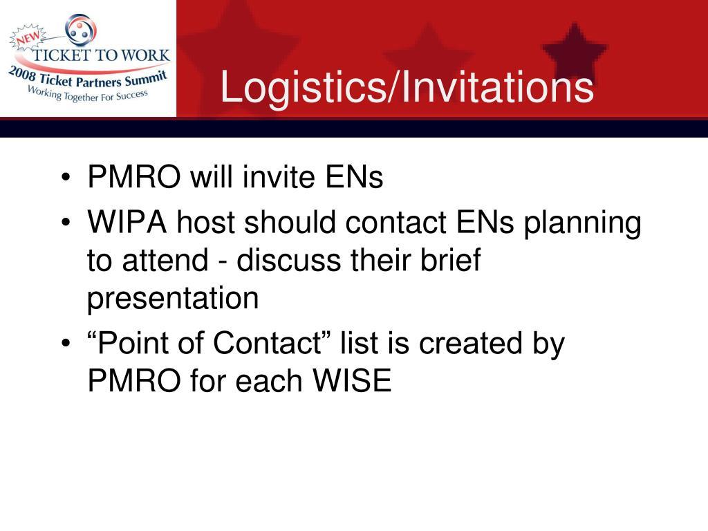Logistics/Invitations
