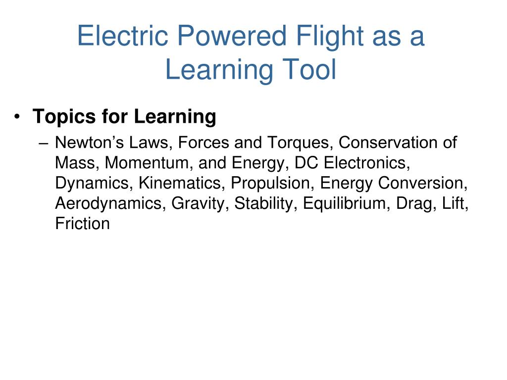 Electric Powered Flight as a