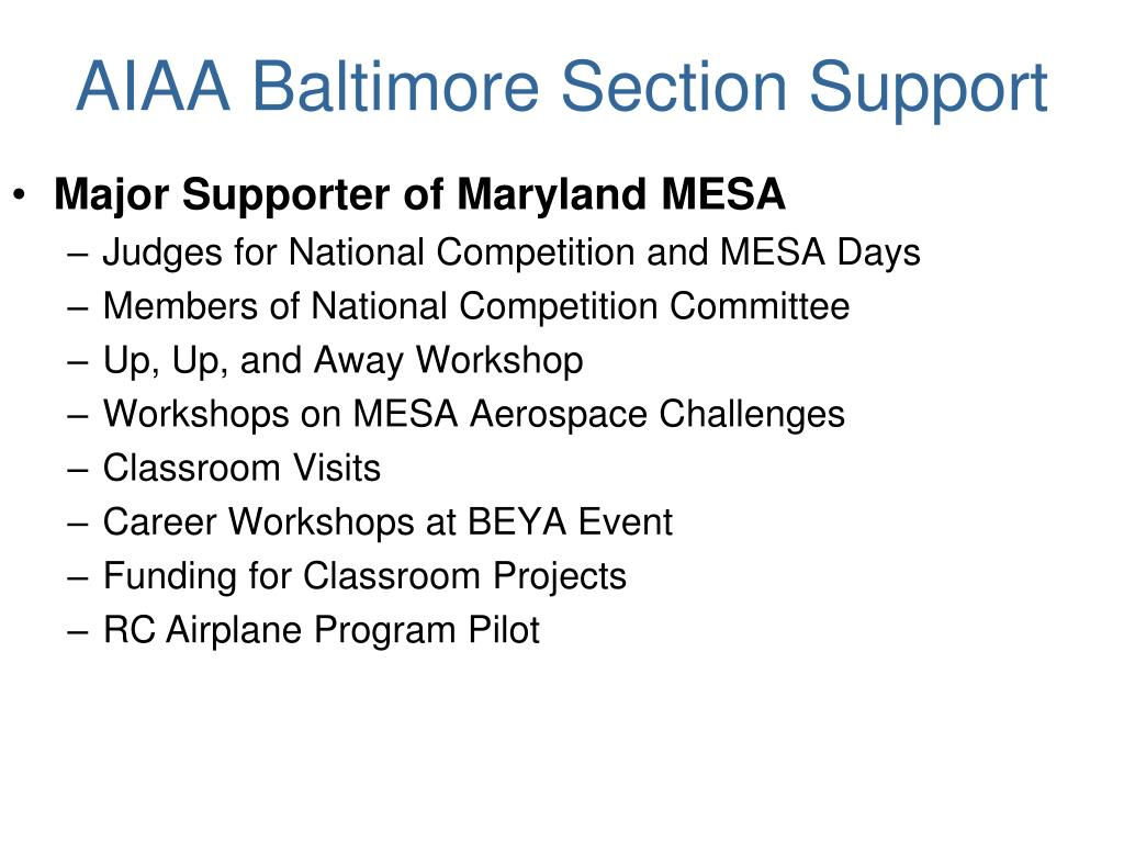 AIAA Baltimore Section Support