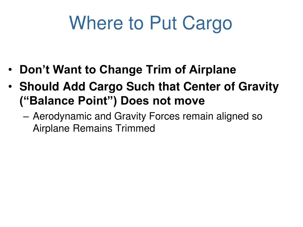 Where to Put Cargo