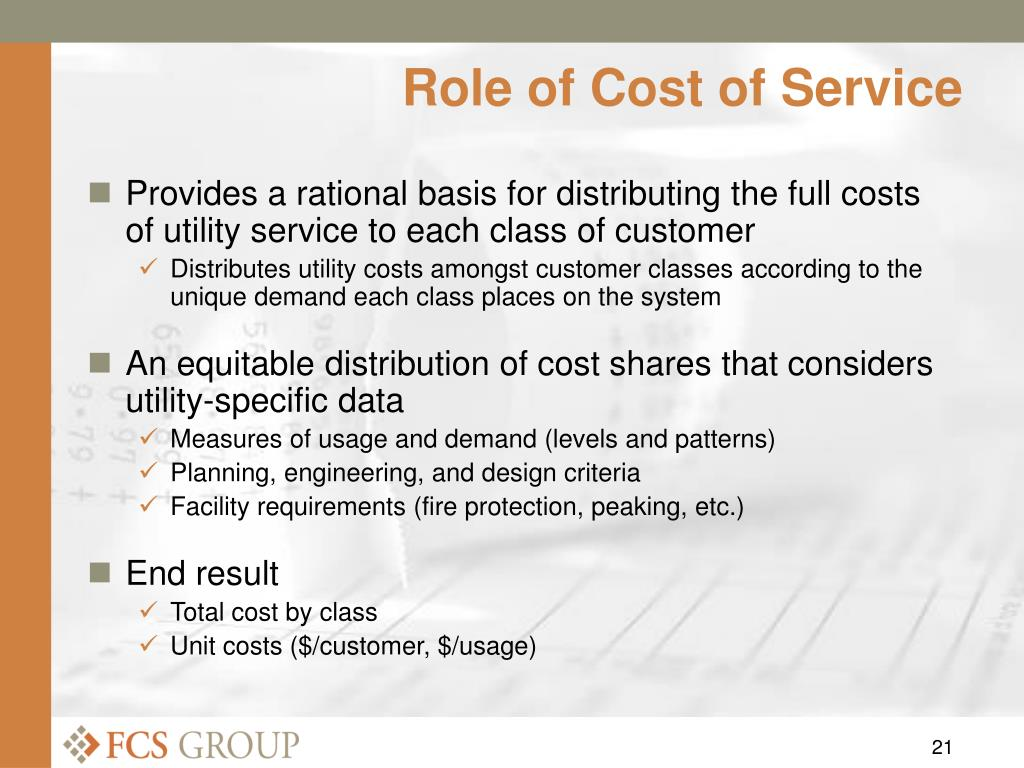 Role of Cost of Service